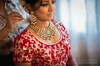 Bride Getting Ready - Polki Necklace