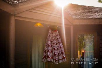Marsala Velvet Bridal Lehenga on a Hanger