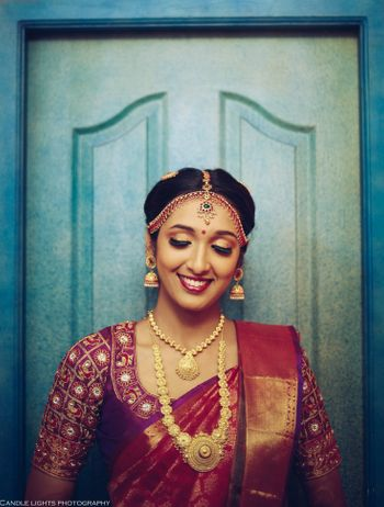 Photo of south indian bridal look with jewellery and red saree