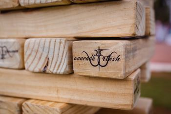 customised giant jenga with wedding logo