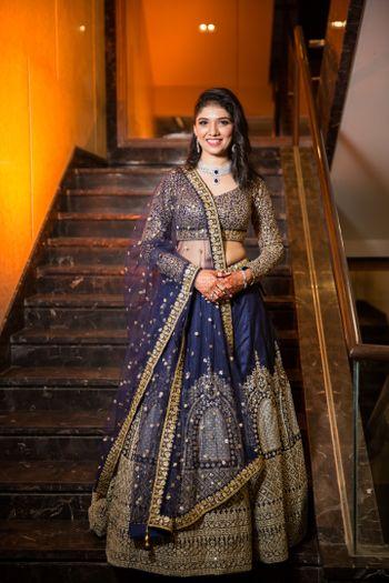 navy blue sangeet lehenga for bride
