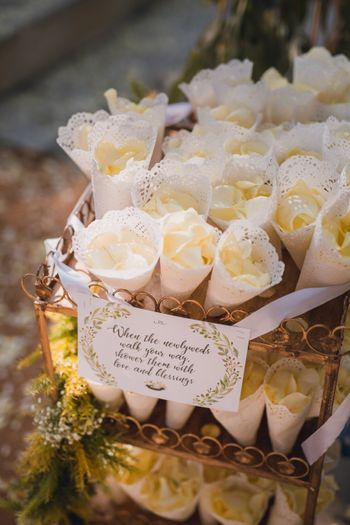 Photo of ideas for guests to shower couple with petals in cones