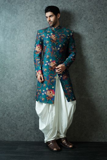Peacock Print Kurta and White Cowl Pants