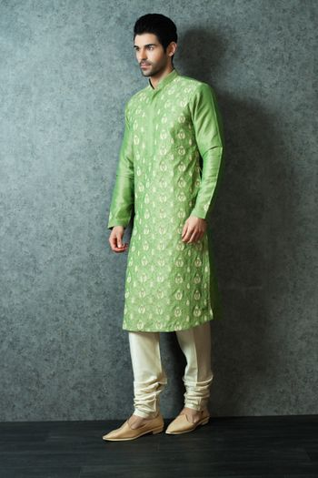 Pastel Green Kurta with Cream Embroidery