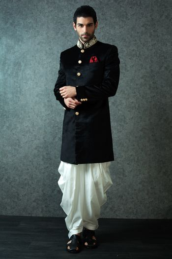 Black Velvet Bandhgala with White Pathani
