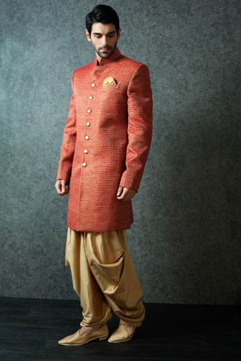 Coral Bandhgala Kurta with Gold Pathani