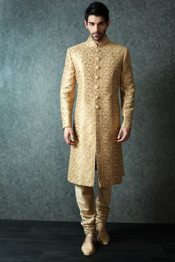 Photo of Gold Self Print Sherwani