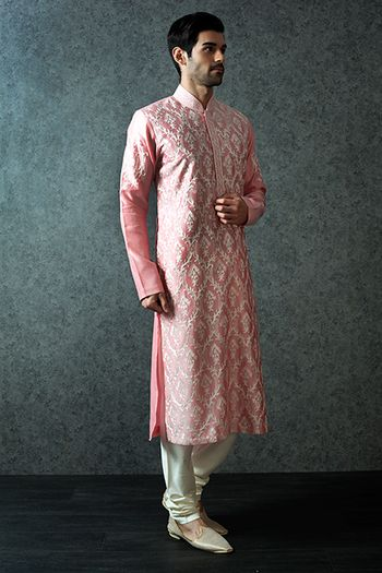 Pink threadwork sherwani with churidar