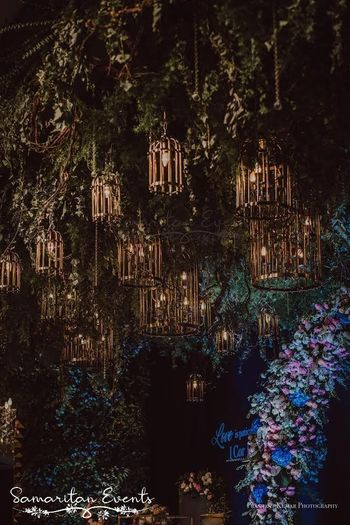 A magnificent decor idea with hanging lanterns and lights.