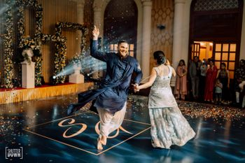dancing couple shot on printed personalised dance floor