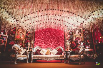 grand stage decor with modern mughal theme