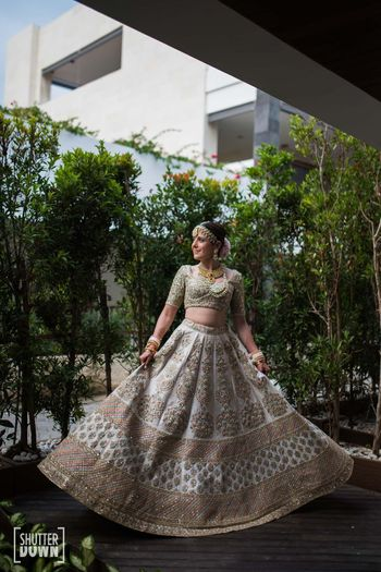 off white sabyasachi bridal lehenga