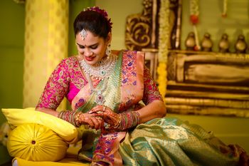 south indian bride in an offbeat saree