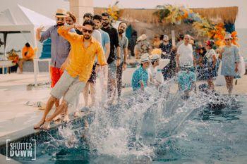 pool party fun shot for destination wedding