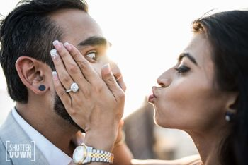 cute and fun pre wedding shoot pose idea