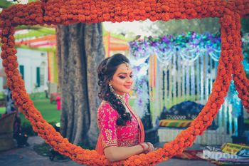 Pink Bride Portrait with Genda Phool Photobooth