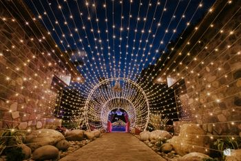 A beautiful entrance decor with fairy lights.