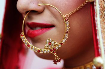 Gold Nath with Pearls and Ruby