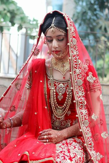 Red and Gold Zarid Bridal Lehenga