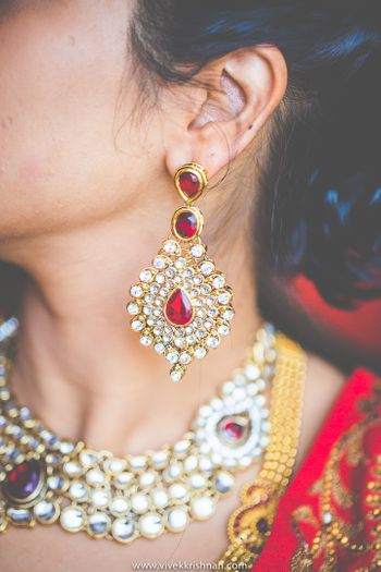 Gold Kundan Earrings With Ruby Stones