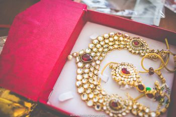 Gold Kundan Bridal Jewelry Set with Ruby Stones