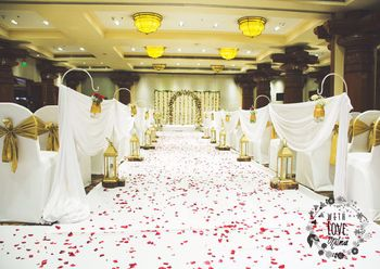 White Entrance with Flower Petals Decor