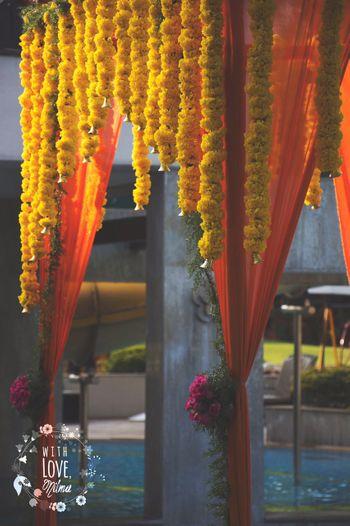 Genda Phool with Hanging Bells Decor
