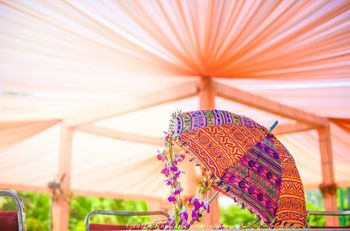 Peach Canopy Tents and Colorful Umbrella Decor