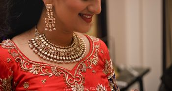 Polki Kundan Necklace with Ruby Stones and Pearls