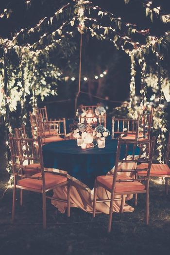 Photo of Teal Table Decor with Dim Lights