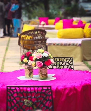 Pink Table Decor with Floral Centerpiece