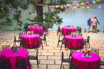 Hot Pink Table Decor with Floral Centerpiece