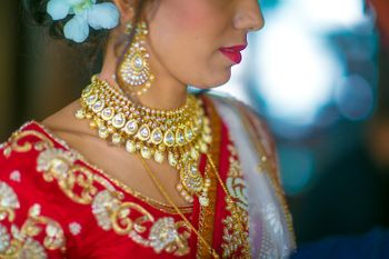 Gold and Diamond Bridal Necklace and Earrings