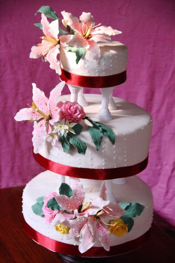 Photo of White and Red Cream 3 Tier Wedding Cake