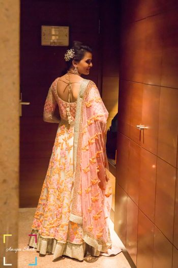 Cream and Pastel Pink Lehenga with Yellow Embroidery