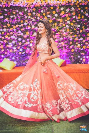 Photo of Pastel Pink and Carrot Pink Shaded Lehenga