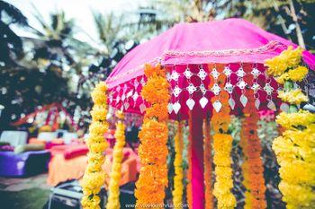 Pink Umbrella Prop with Floral Decor