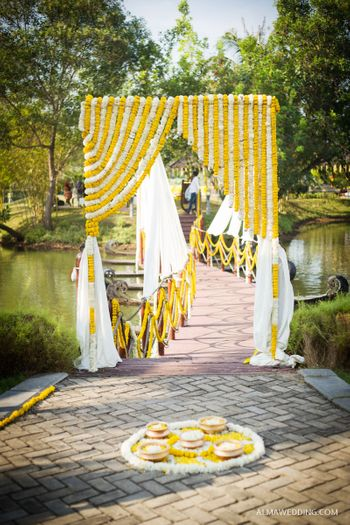 Yellow and White Floral Entrance Curtains