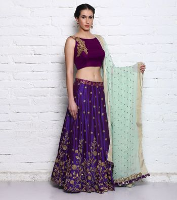 Purple and Gold Lehenga with Mint Dupatta