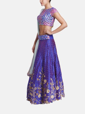 Purple gota work lehenga with attached dupatta