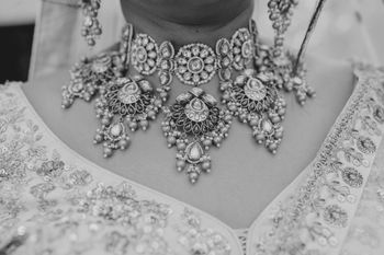 polki bridal necklace set black and white photography