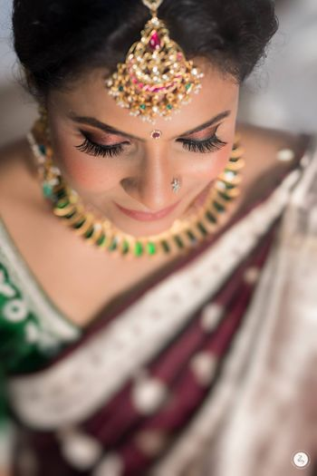 subtle makeup on a south indian bride
