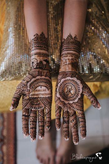 unique personalised bridal mehendi with hashtag