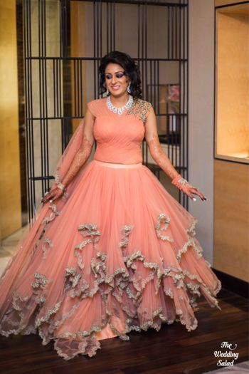 Peach ruffled gown for engagement