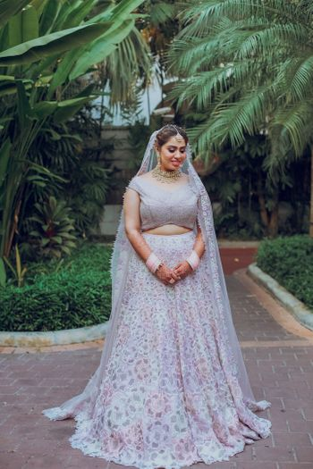 Photo of minimal bridal lehenga with subtle work