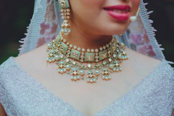 meenakari enamel necklace in blue for bride