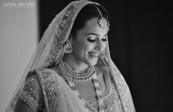 Photo of black and white wedding day bridal shot