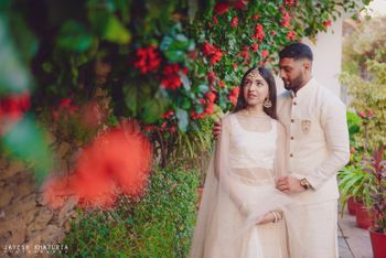 matching pastel bride and groom for engagement