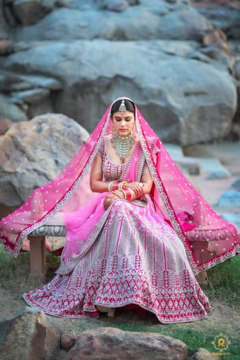 bright pink bridal lehenga for destination wedding