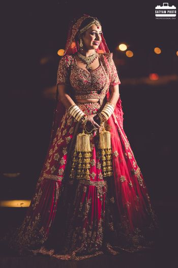 Bridal lehenga in red hue